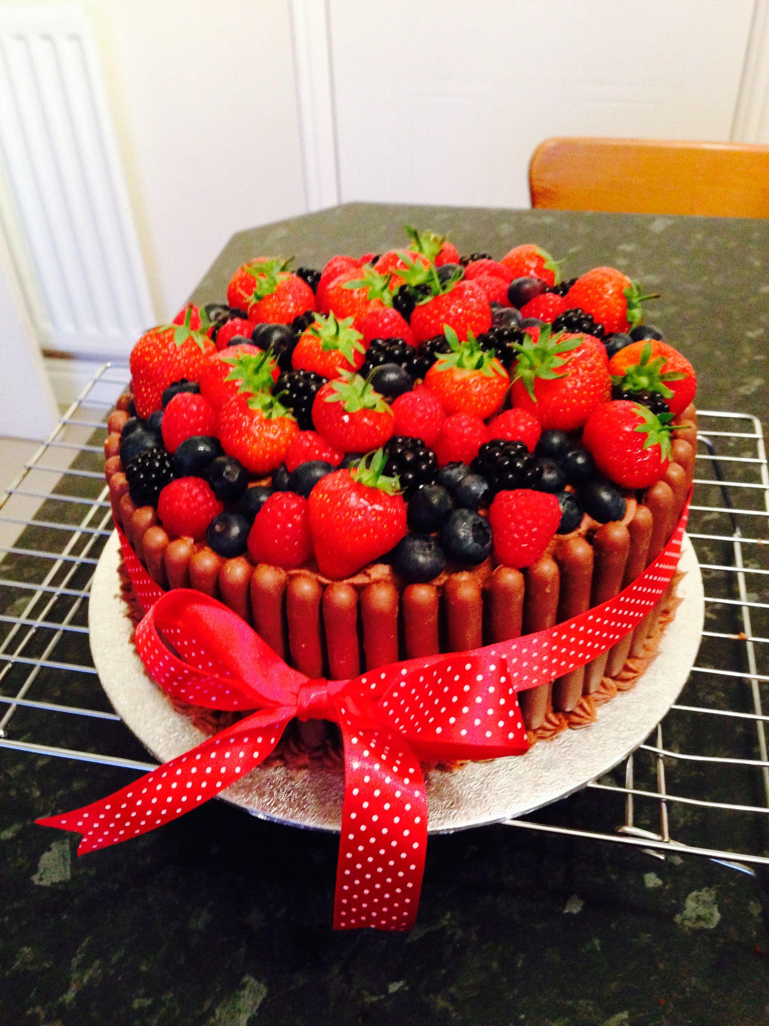 Fruit and chocolate birthday cake | Birthday cake ...