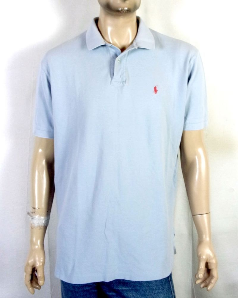 a3c32cc239 ... coupon code vtg 90s euc polo ralph lauren light blue polo shirt casual  collar red pony ...
