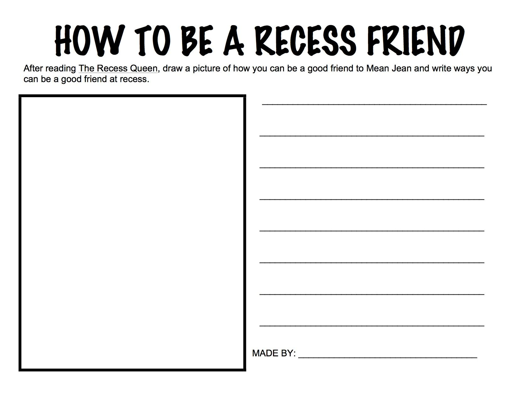 Activity For The Recess Queen For Project Cornerstone Adapted By Kathryn Harper