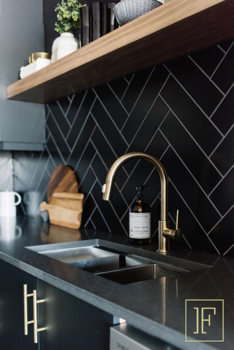 Loving The Black Herringbone Backsplash With The Bronze Faucet Home Decor Kitchen Kitchen Interior Interior Design Kitchen