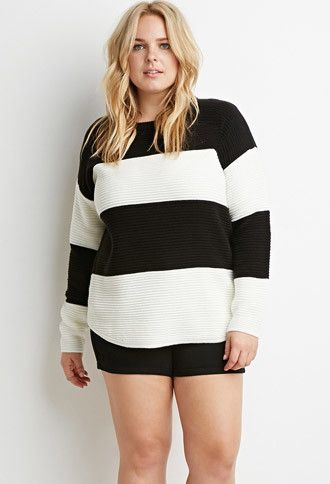 Plus Size Chunky Knit Striped Sweater Forever 21 Plus 2000157045