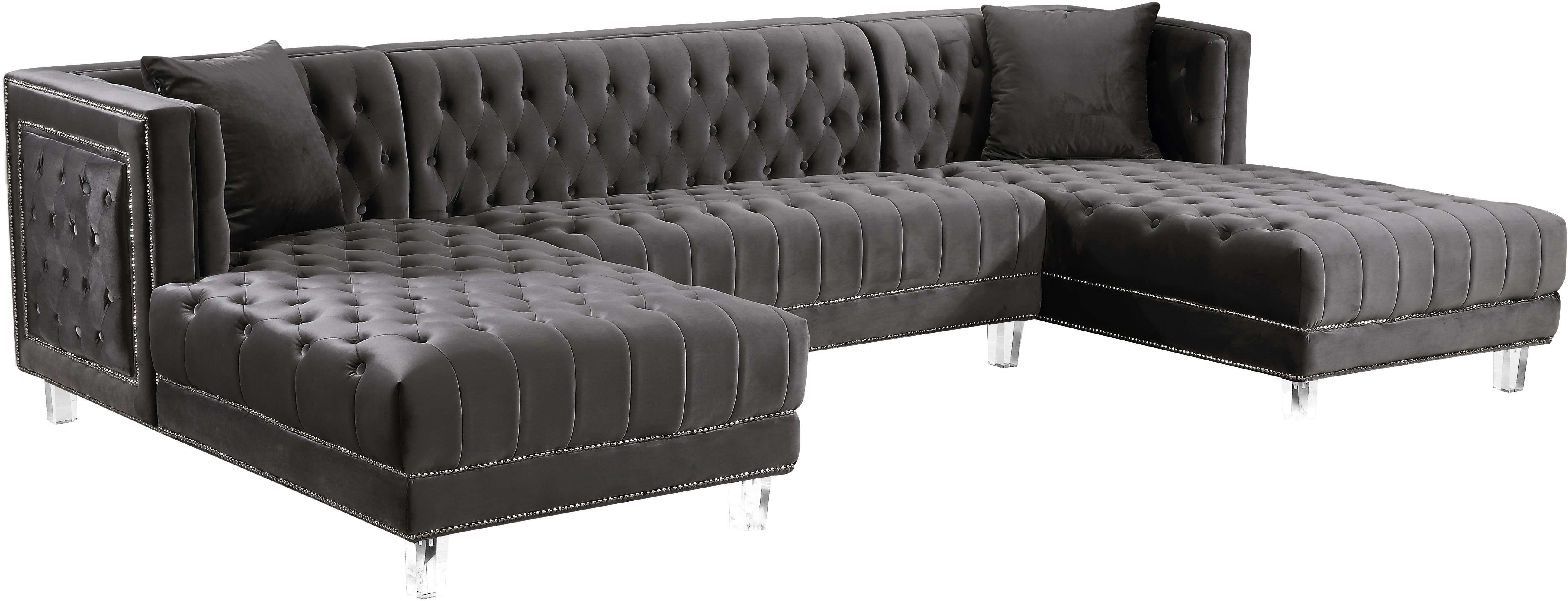 Meridian Moda Grey Velvet 3 Piece Sectional Sofa Reviews
