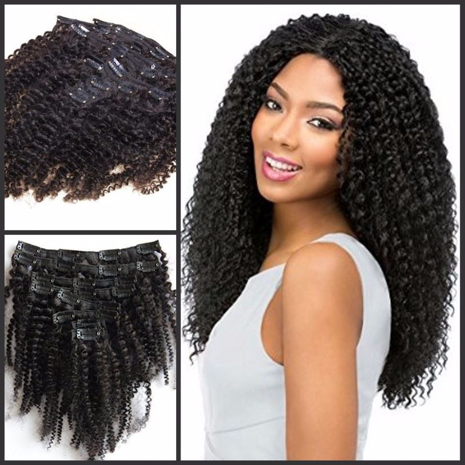 7a Best Quality Afro Kinky Curly Clip In Human Hair Extensions 1