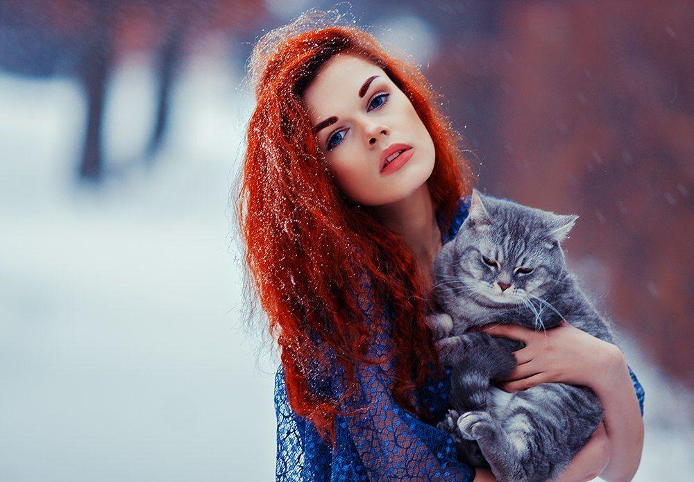 Картинки девушки кота
