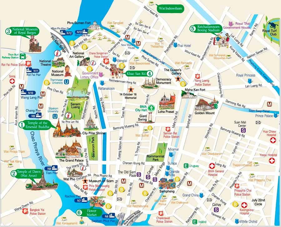 New Zealand Sightseeing Map.Bangkok Travel Map For Travelers Great Guide To The Must See Spots