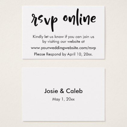 Wedding rsvp online casual insert blackwhite 11 business card wedding rsvp online casual insert blackwhite 11 business card rsvp gifts card cards diy unique special reheart Gallery