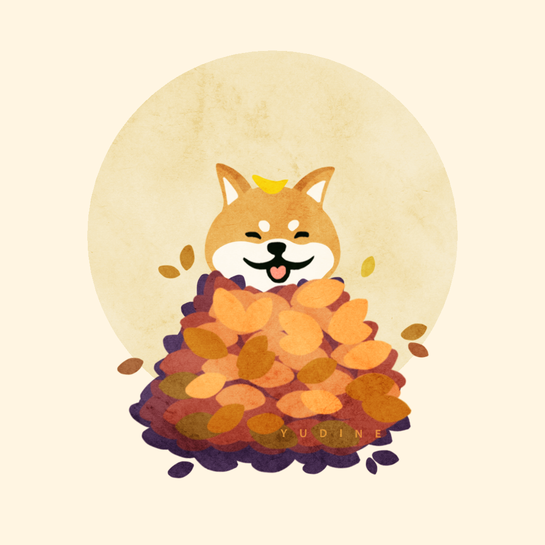 Shiba Inu In Autumn Leaves Illustration Please Donate Us Hello There Bright People Are You Doglover Or Have Yo Cute Dog Cartoon Shiba Inu Dog Illustration