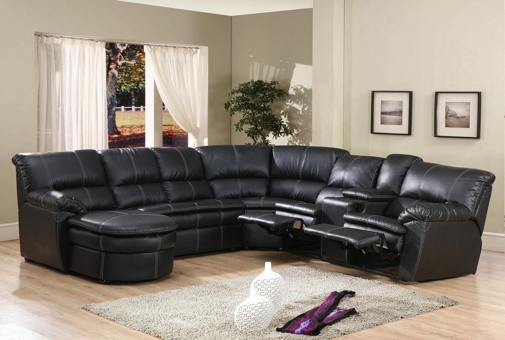 Superieur 4 Pc Black Bonded Leather Sectional Sofa With Recliners And Chaise Lounge  And Center Arm Console