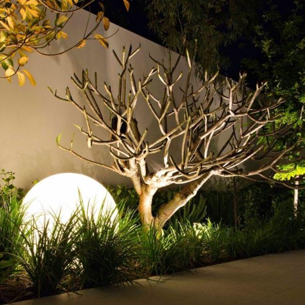 Gartenbeleuchtung Modern led gartenbeleuchtung schön aussehen kleiner baum daneben