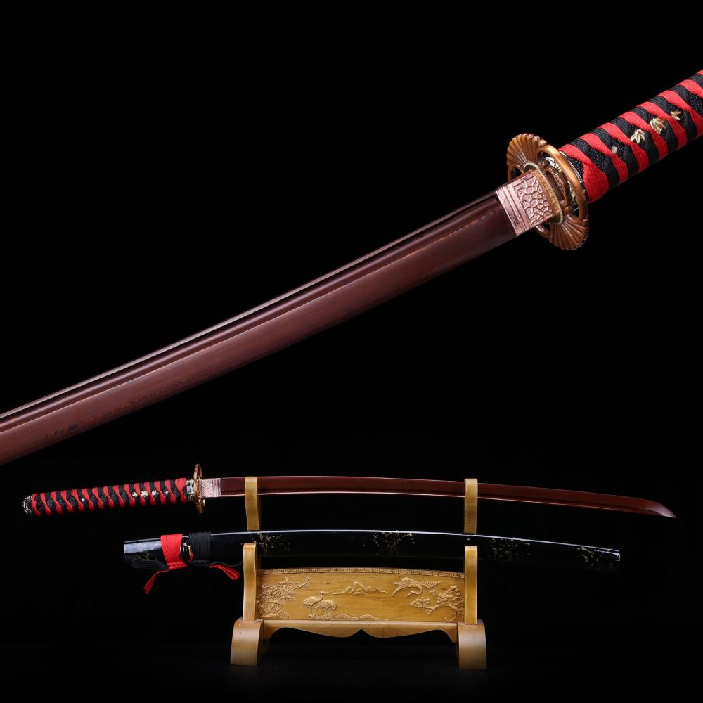 Full Tang Japanese Samurai Sword Katana 1060Carbon Steel Blade Alloy Fittings#19
