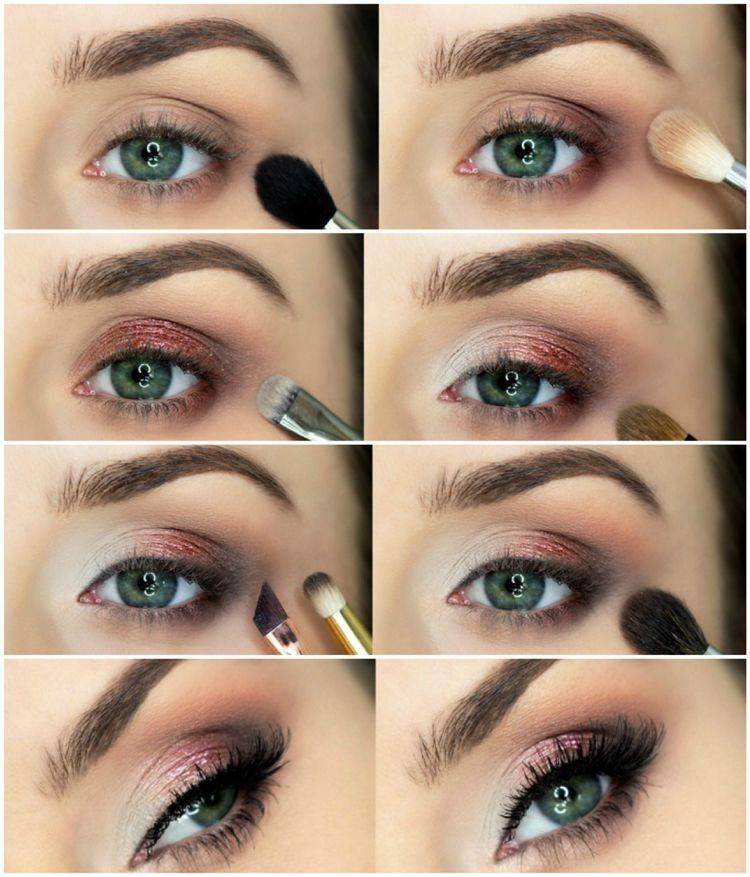 Smokey Eyes Schminken Für Grüne Augen Glitzer Lidschatten Beauty