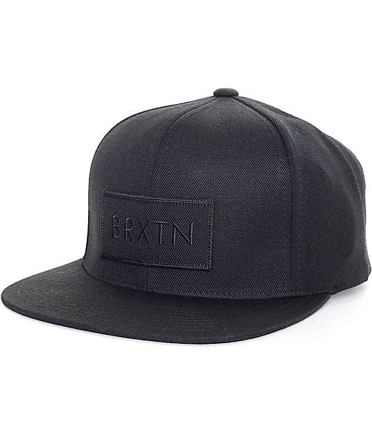 5045bed1eb1 Take the all black everything look a step further with the Rift snapback hat  from Brixton
