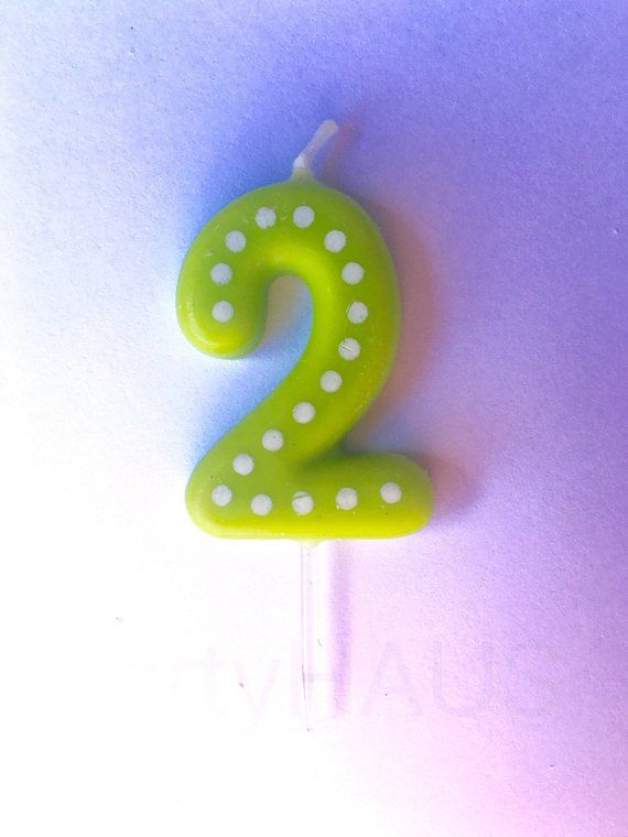 2nd Birthday Candles Number 2 Blue Green Ornange Red Yellow Second Candle Two C