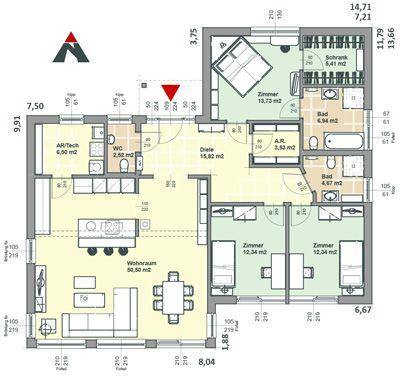 Fertighaus Bungalow 135 Erdgeschoß | Floor plan | Pinterest ...