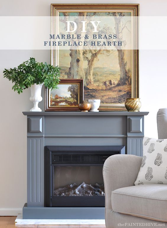 Easy Diy Marble Hearth And A Fireplace Makeover The