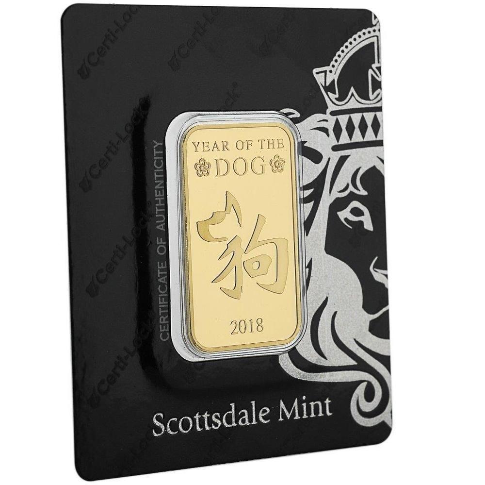 2018 1 Oz 9999 Gold Bar Year Of The Dog In Certi Lock Coa A440 Goldbars Gold Dog Years Gold Bar Gold Bars For Sale