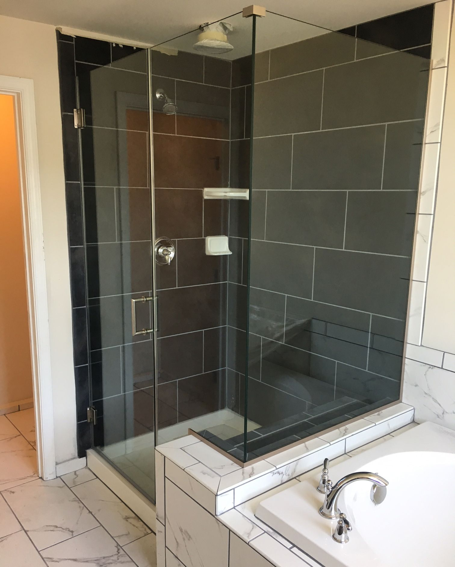 Brushed Nickel 80 Tall Glass Shower Door Notched Panel With A