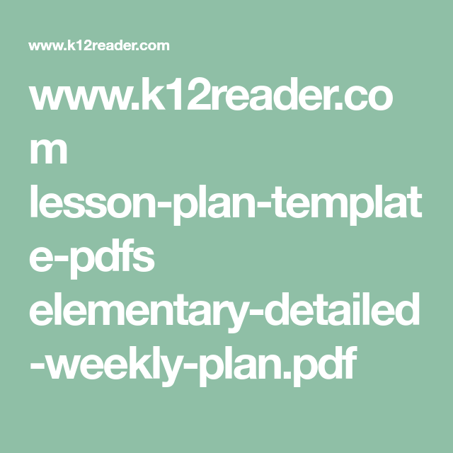 WwwKReaderCom LessonPlanTemplatePdfs ElementaryDetailed