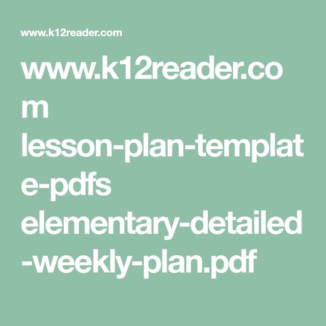 WwwKReaderCom LessonPlanTemplatePdfs ElementaryDetailed