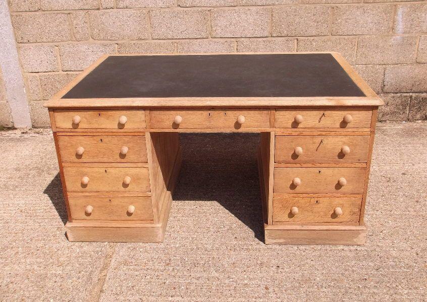 Large Antique Oak Desk - 19th Century Victorian Oak 5ft Partners Desk - Large Antique Oak Desk - 19th Century Victorian Oak 5ft Partners