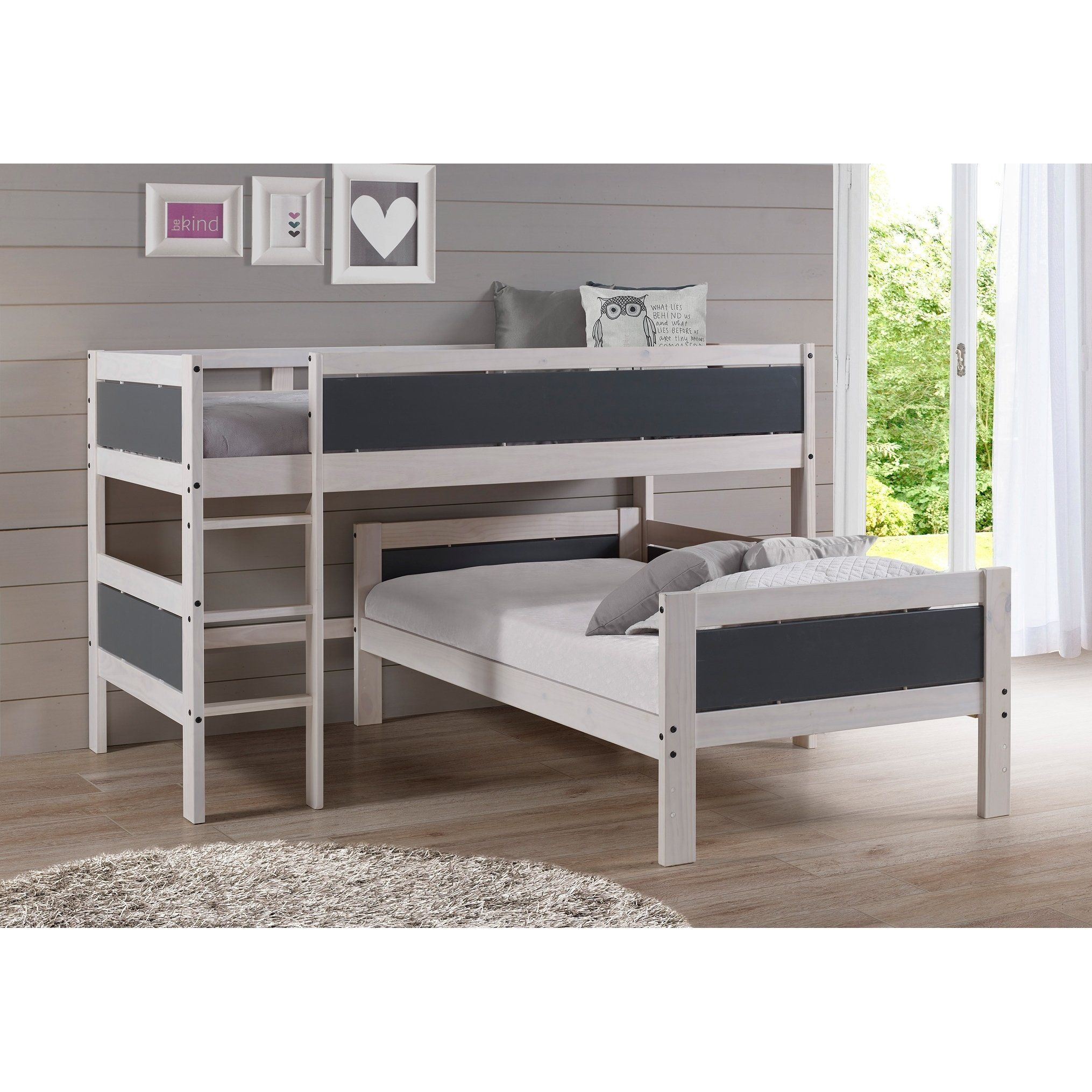 Twin over Twin Low Loft in White Wash and Dark Grey