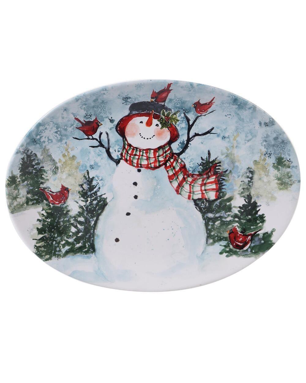 16 watercolor snowman oval platter snowman earthenware