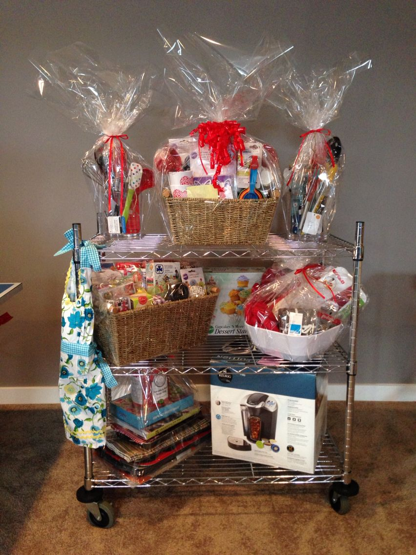 Kitchen Baking Themed Gift Basket Donated Items Placed On The Kitchen Cart In Various Bowls Acrylic Clear Themed Gift Baskets Home Decor Baskets Fun Decor