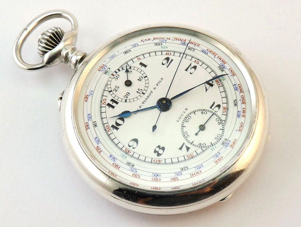 c1935 antique sterling silver swiss tissot pocket
