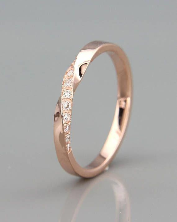 14k Rose Gold Mubius Ring set with Diamonds | Diamonds Mobius Ring | 14k Rose Gold Mobius Wedding Ring set with Diamonds