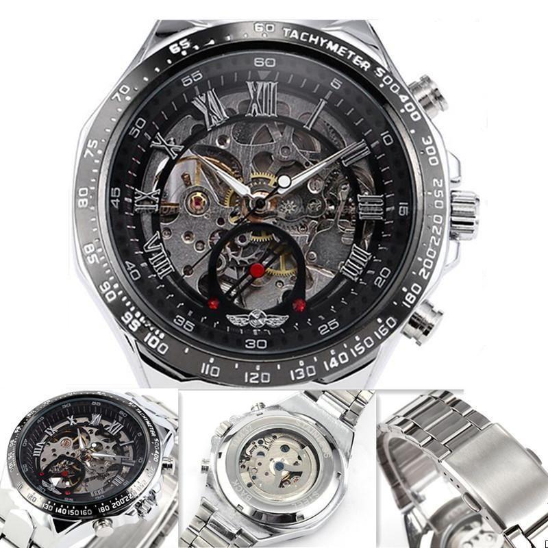 New Men's Mechanical Sport Army AVIATOR Wrist Watch Luxury Black Stainless Steel #Unbranded