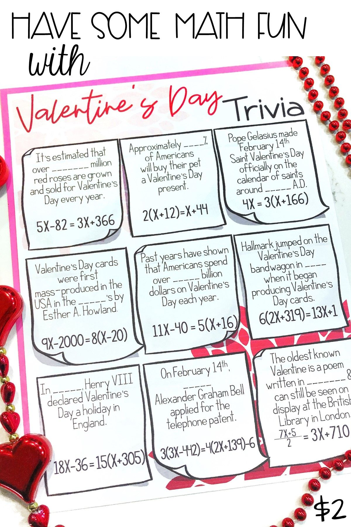 Solving Equations Valentine S Day Math Activity Worksheet
