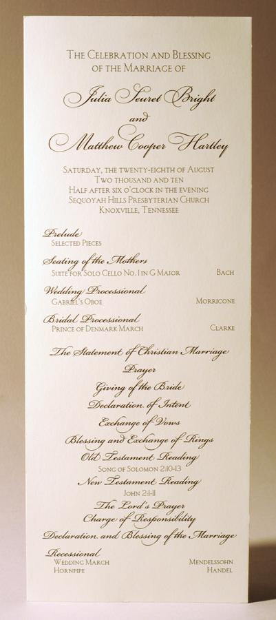 Simple card wedding program single color thermography designed and simple card wedding program single color thermography designed and printed by larry b stopboris Images