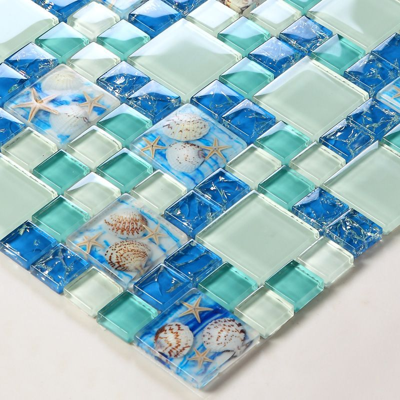 TST Glass Conch Tiles Beach style Sea Blue Glass Tile Green Glass Mosaics Wall Art Kitchen Backsplash Bathroom Design