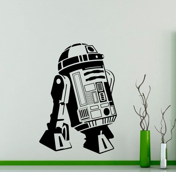 R2 d2 droid wall vinyl decal star wars wall sticker robot wall home interior living room