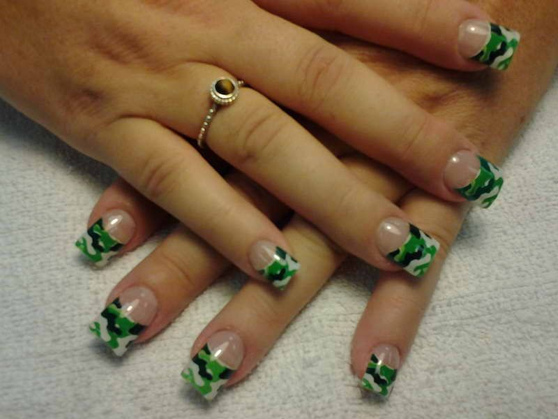 Acrylic nail designs acrylic nail designs with color green 2012 camouflage french tip nails prinsesfo Choice Image