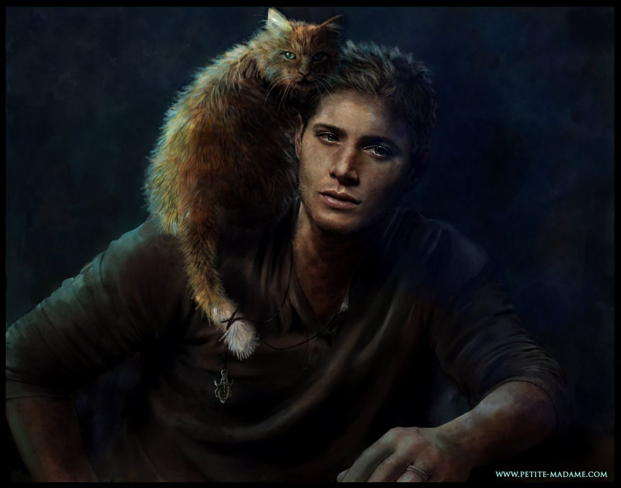 The great thing about being a fan artist is that you can reinterpret a character exactly as you want. Jensen Ackles a.k.a.Dean Winchester never had a cat on his shoulder in Supernatural but thanks to my Wacom Graphire 4 and 25 hours of hard work now...