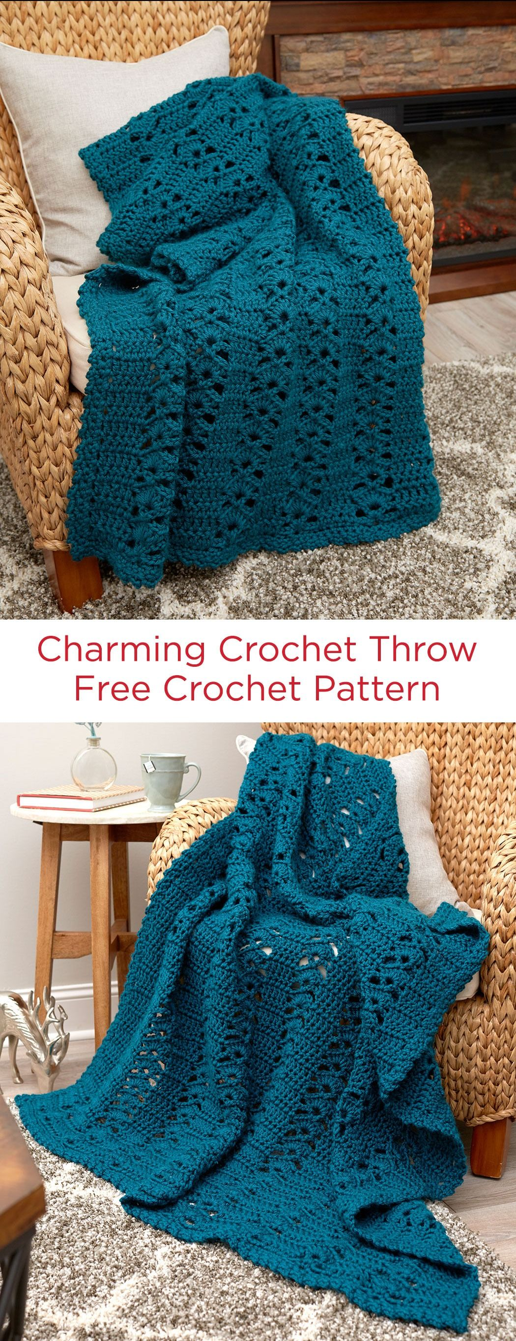 charming crochet throw free crochet pattern in red heart soft