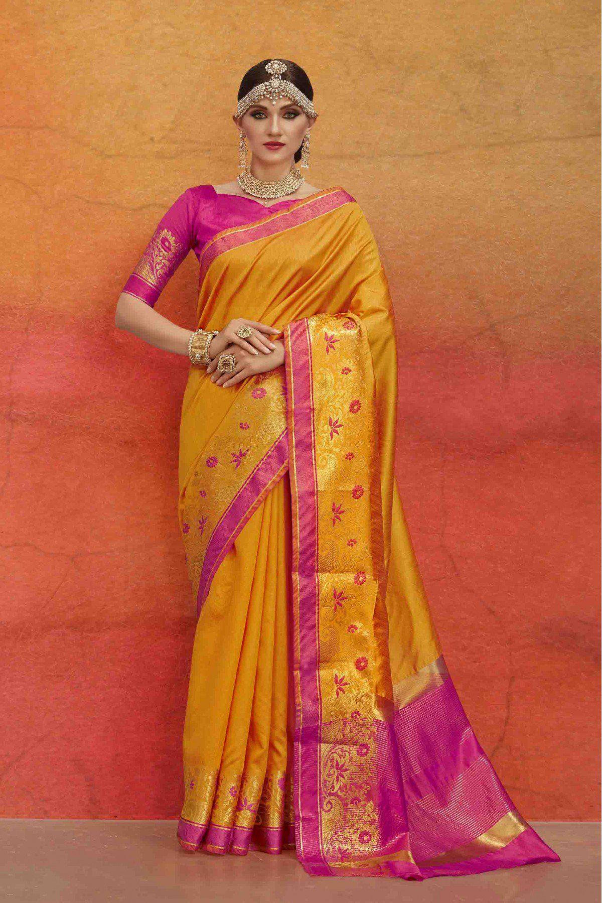 80cc015c52 Buy Bhagalpuri Silk Saree In Mustard Colour @ ninecolours.com. Worldwide  Free Shipping Available