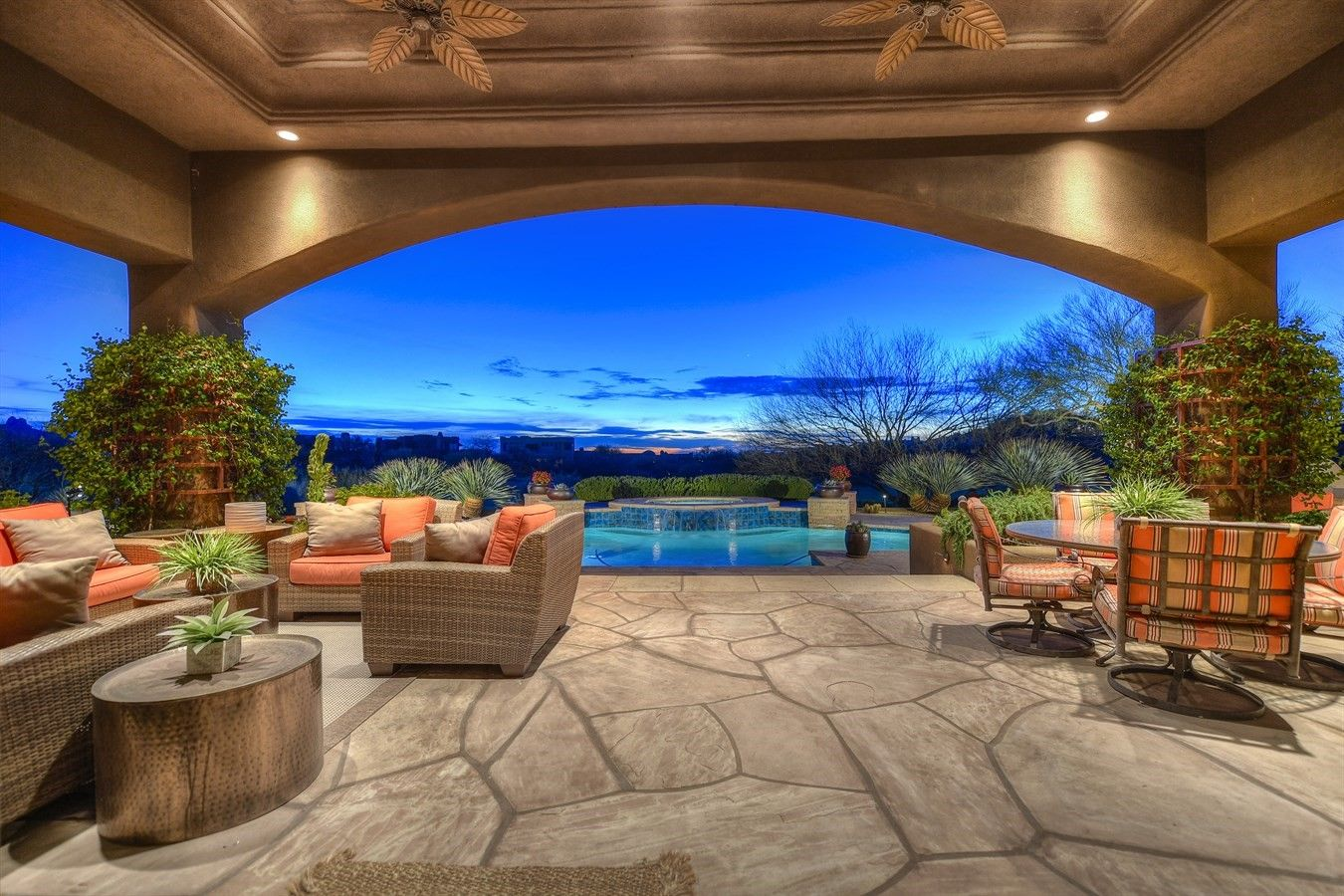 Pleasing Huge Covered Patio With Pool And Sunset Views Outdoorliving Home Remodeling Inspirations Propsscottssportslandcom