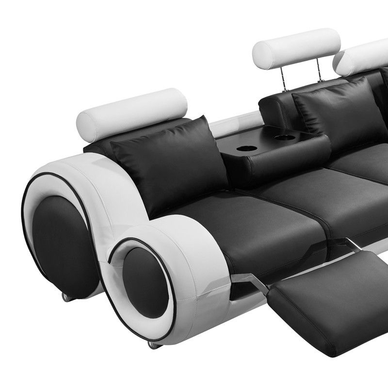 4087 Modern Black and White Leather Sectional Sofa in 2019 ...