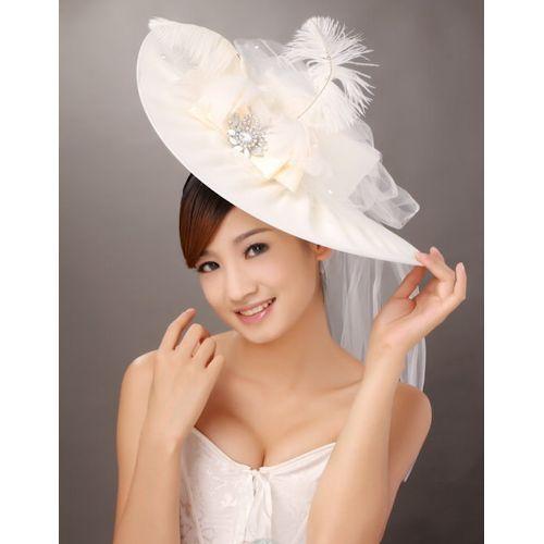 Women Ivory White Wide Brim Bridal Wedding Dress Derby