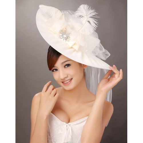 Women Ivory White Wide Brim Bridal Wedding Dress Derby Hats for Sale  SKU-158184 296af8b675f