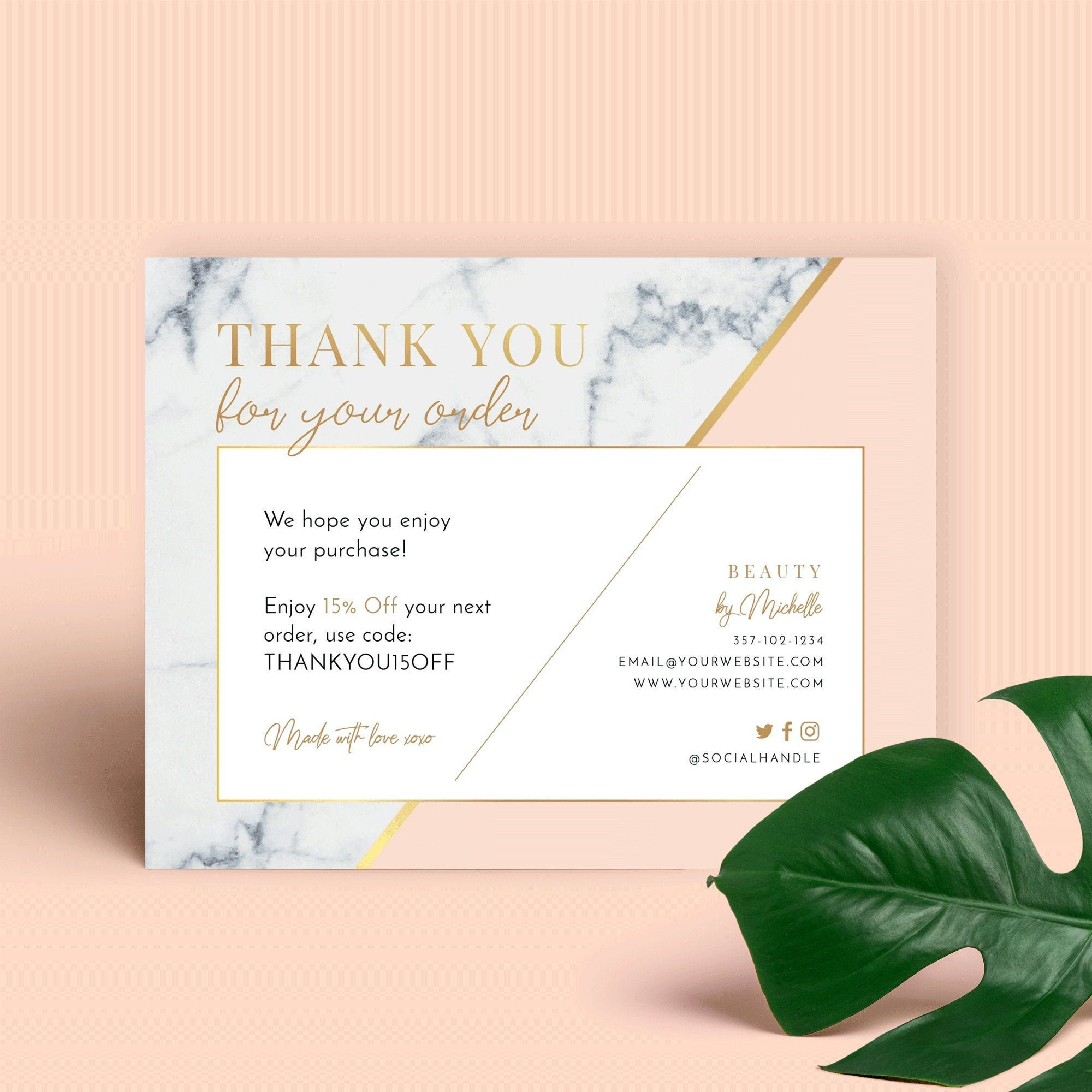 Marble Gold Thank You For Order Card Template Printable Etsy Business Thank You Cards Thank You Card Template Business Thank You