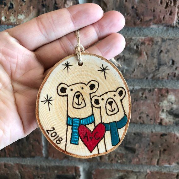 Christmas Ornament - CUSTOM Bear Couple First Christmas Holiday - Wood Burned Wood Slice - Wedding Engagement Ornament - Anniversary Gift