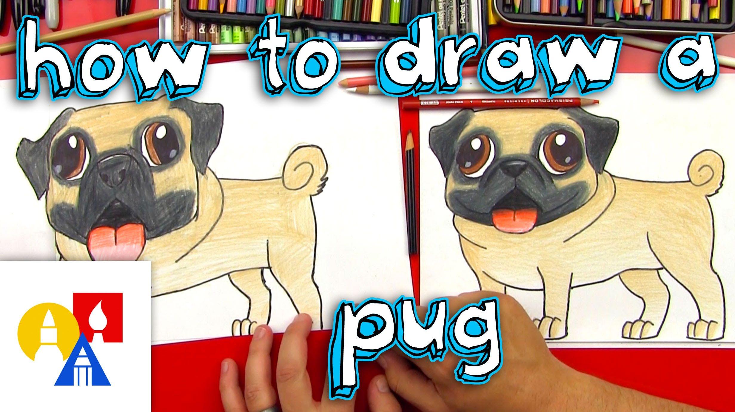 How To Draw A Cute Pug Art For Kids Hub Pugs Pug Art