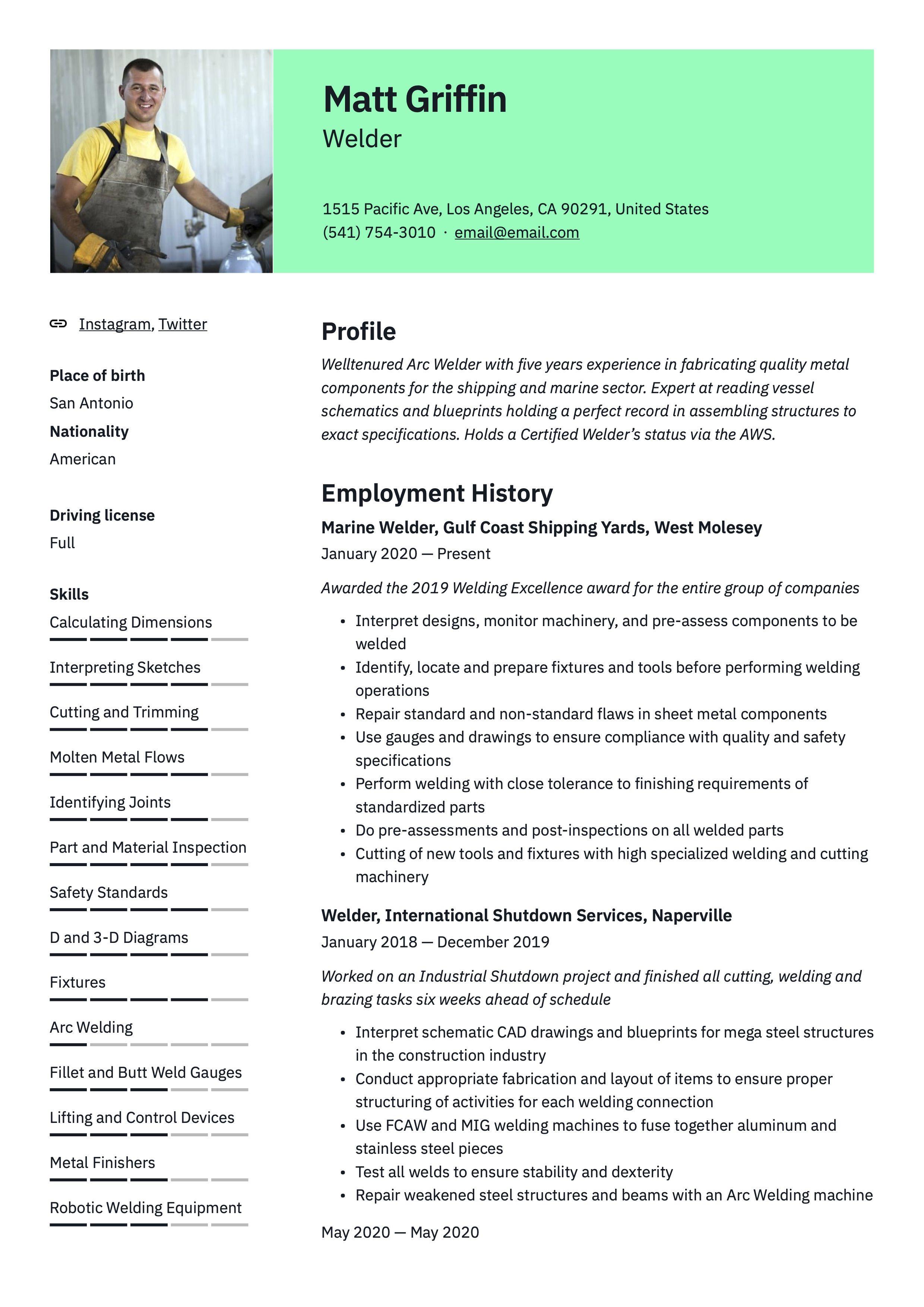 Welder Resume Example Resume Examples Professional Resume Examples Resume Guide