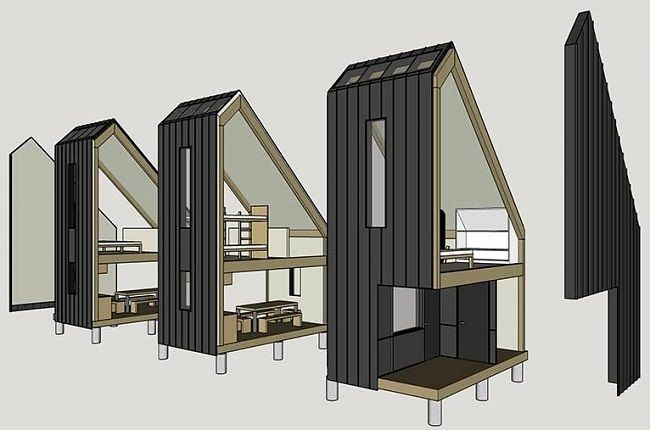 d couvrez cette maison modulable id ale pour l auto construction prefab and house. Black Bedroom Furniture Sets. Home Design Ideas