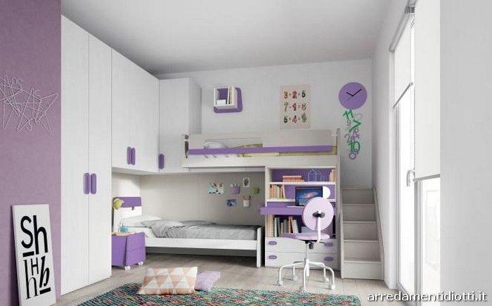 Cameretta Tortora ~ Cameretta in lignum bianco tortora e viola con scrivania a