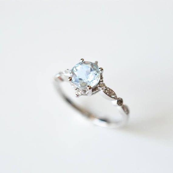 Aquamarine Engagement Ring White Gold Platinum Aquamarine Engagement