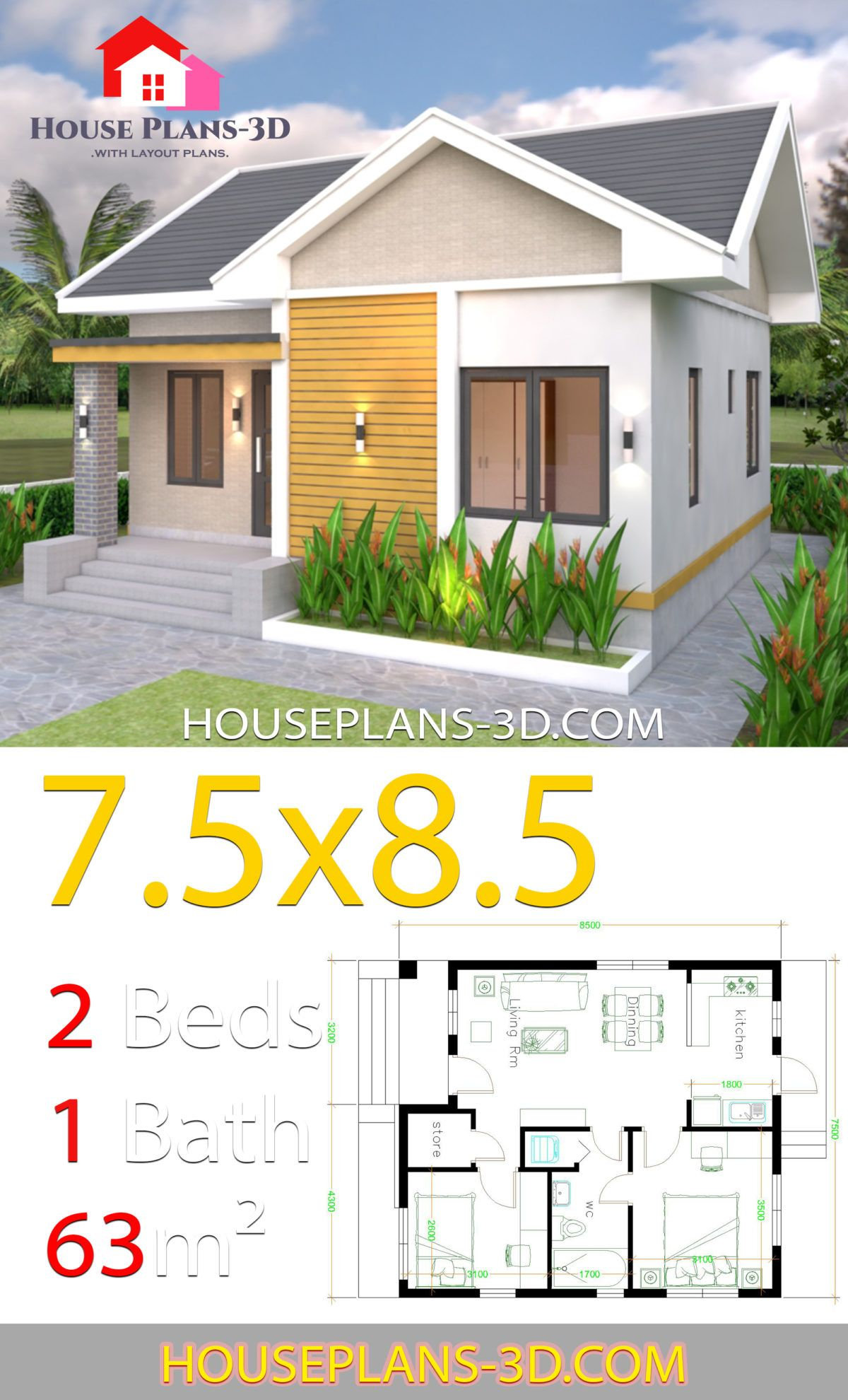House plans 7.5x8.5m with 2 bedrooms Gable roof - House ...